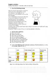English Worksheets: Reading comprehension for elementary and the verbs like, love, hate