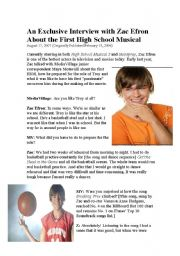 English Worksheet: High School Musical Interview and questions