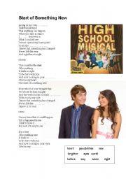 English Worksheet: The Start of Something New, High School Musical