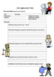Jobs Activity - Application Form, Interview and Writing Exercise