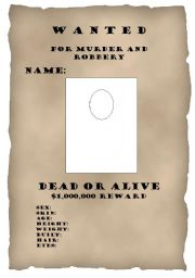 English Worksheet: Wanted posters