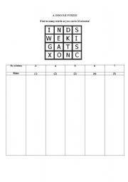 English Worksheets: Word Boggle