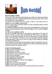 English worksheet: Bob Geldof