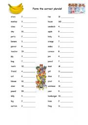 English Worksheets: Form the correct plurals!