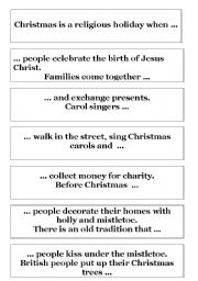 English Worksheet: christmas jigsaw reading