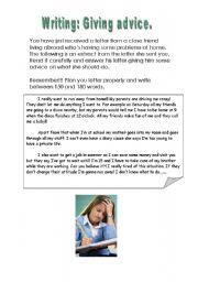 English Worksheet: giving advice
