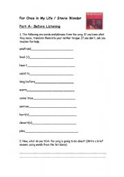 English Worksheet: For Once in My Life/ Stevie Wonder
