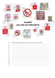 English Worksheet: mustn�t