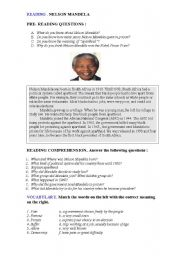 English Worksheet: READING NELSON MANDELA