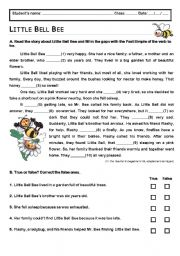 English Worksheet: Little Bell Bee