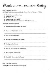 Charlie and the Chocolate Factory - worksheet by missale