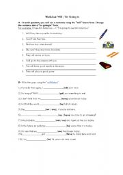 English Worksheet: Future: will or going to