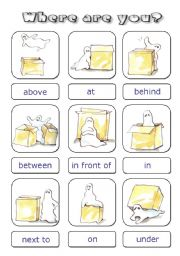 English Worksheets: Prepositions cards
