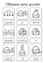 Prepositions cards - ESL worksheet by Alenka