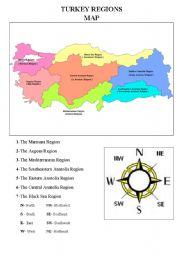 English Worksheet: the map and regions of Turkey