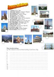 English Worksheet: famous buildings