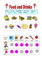 English Worksheet: Food and Drinks:like-dislike