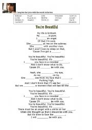 James Blunt You Re Beautiful Esl Worksheet By Silvia367