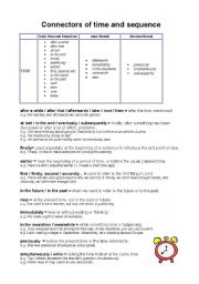 English Worksheets: connectors of time and sequence