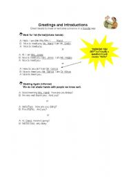 English Worksheets: Greeting and Introductions