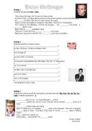 English Worksheets: Ewan McGregor: Reading Comprehension+Pronouns