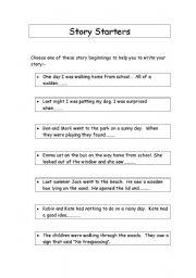 Collection of Story Starter Worksheets - Bloggakuten