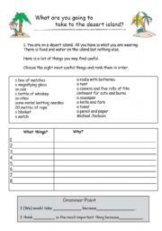 English Worksheet: Desert Island Activity