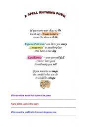 English worksheet: Harry Potter spells-rhyming poem