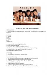 English Worksheet: Friends - the one with Ross�s Wedding