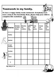 Worksheets Family Roles Worksheet english worksheet family duties