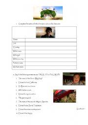 English Worksheets: BIG FISH - While viewing worksheet