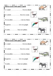 English Worksheet: animal�s home