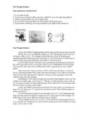 English Worksheets: The Wright Brothers