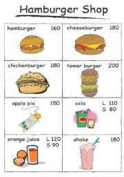 Hamburger Shop Menu