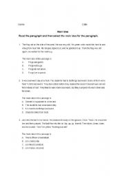 English Worksheet: Looking for main idea