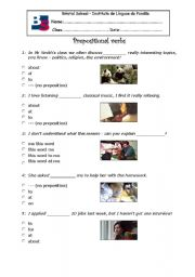 English Worksheet: prepositional verbs worksheet