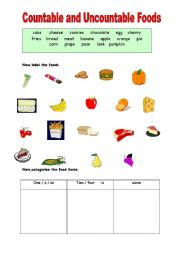 English Worksheets: countable and uncountable foods