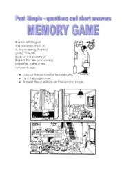 English Worksheets: Past Simple - questions and short answer - memory game