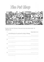 English Worksheets: visit at the pet shop