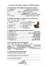 English Worksheet: lets practise future!