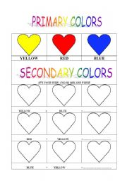 Vocabulary worksheets > Colours > PRIMARY AND SECONDARY COLORS