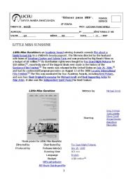 English Worksheets: activity about the movie Little miss sunshine for teenagers