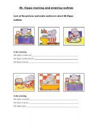 English Worksheets: Mr. Hippo