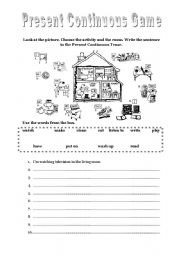 English Worksheet: Present Continuous Game