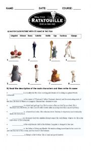 English Worksheet: Ratatouille