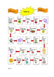 English Worksheet: Conditionals I and II Board  Game