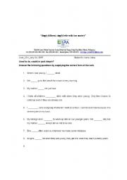 English Worksheet: Used to Vs. Would (Past Habitual Action)