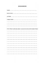 English Worksheet: Book Review Template
