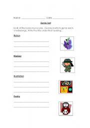 English Worksheets: genre sort