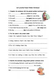 lets practise present perfect continuous